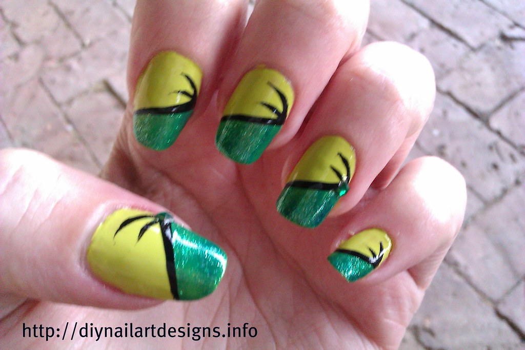 Diy Nail Art Designs Easy Two Tone Green Nail Design With Flickr