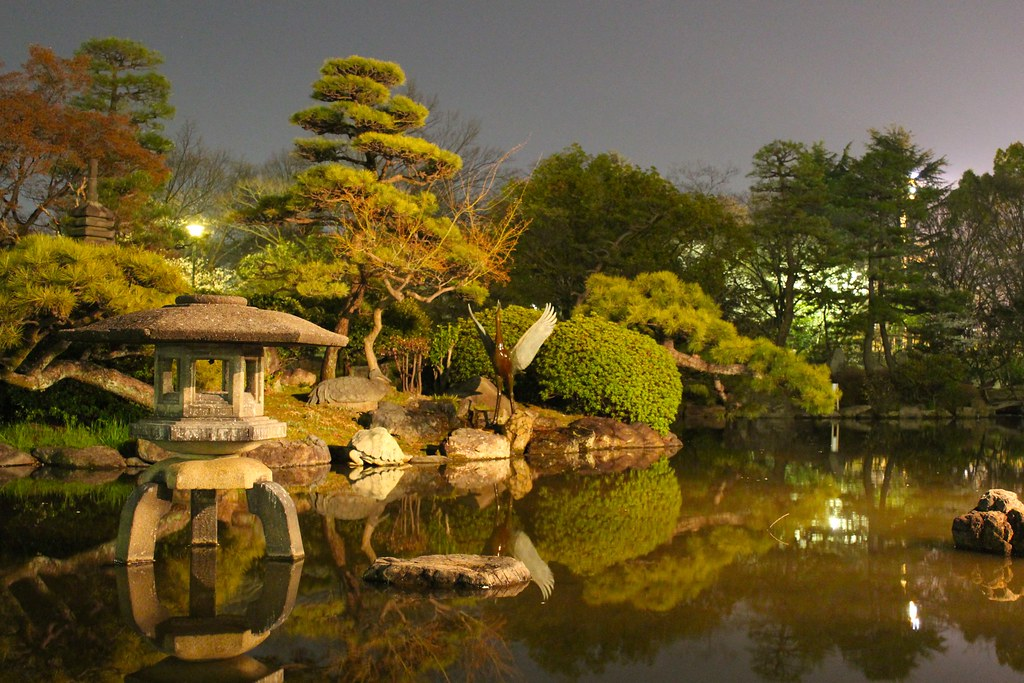Japanese Garden At Night My Brother Actually Captured This Flickr
