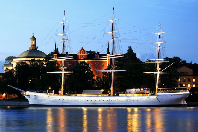 Anchored on a white night, Stockholm