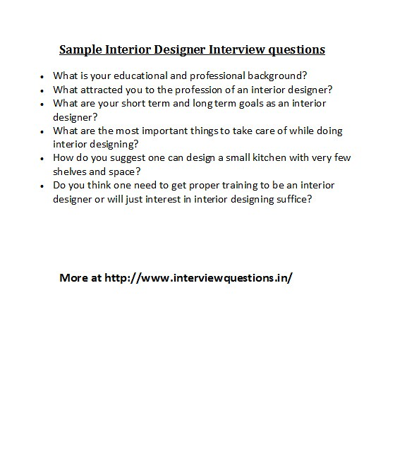 Charmant Sample Interior Designer Interview Questions | For Different ...