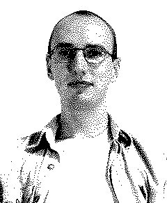 Dithered black-and-white portrait of me