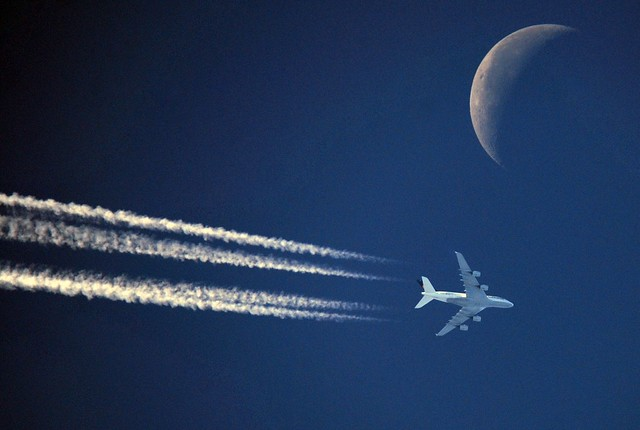 Heading MOON: DLH440 Lufthansa Airbus 380 (D-AIMG) at FL340 enroute from Frankfurt to Houston