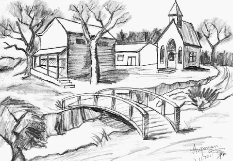 Aupoman Scenery Drawing House River Bridge Scenery Pencil