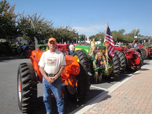 Tractor line-up for parade in Leonardtown