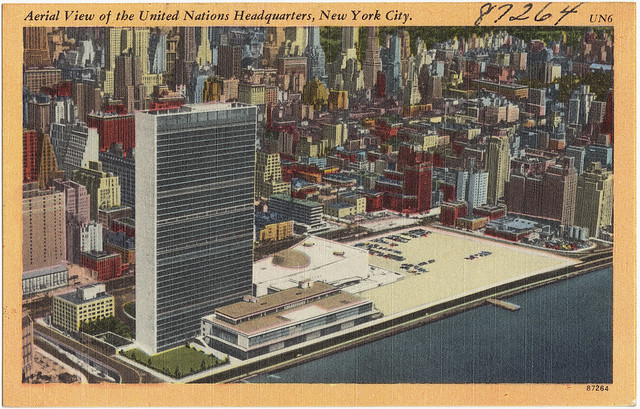 Aerial view of the United Nations headquarters, New York City