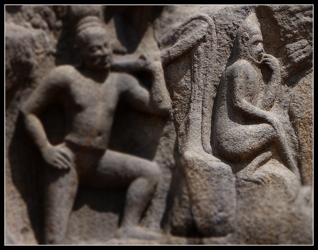 Detail on panel of bas relief - Pensive monkey