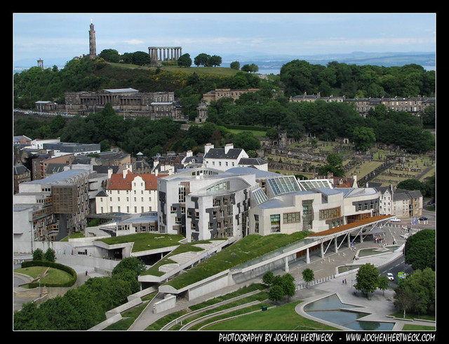 Scottish Parliament & Carlton Hill, Edinburgh, Scotland, UK