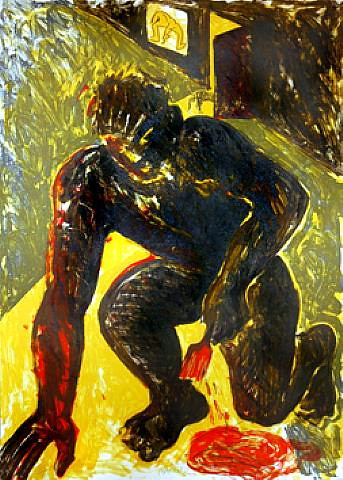 Barcelo, Miguel (1957- ) - 1983 Kneeling Painter (Private Collection)