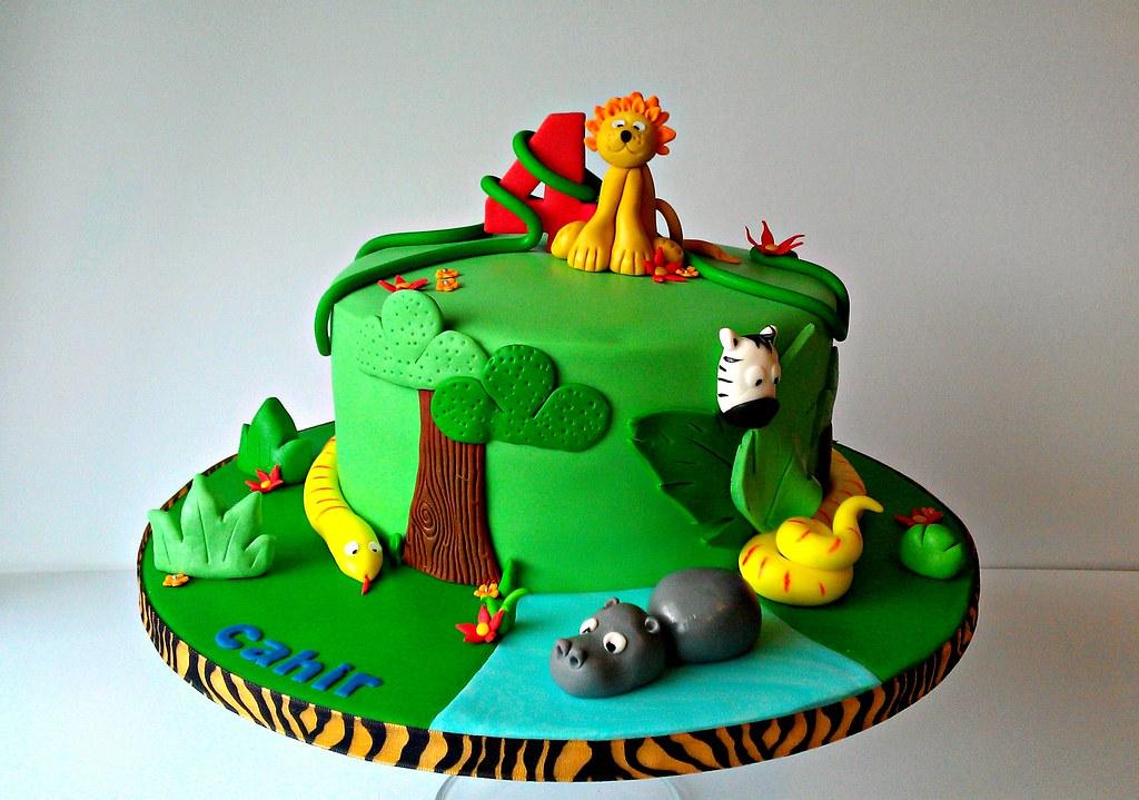 Phenomenal Jungle Themed Birthday Cake 4Th Birthday Cake All Animal Flickr Funny Birthday Cards Online Elaedamsfinfo