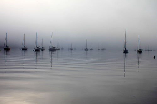 morning fog sunrise reflections boats harbor maine foggy belfast
