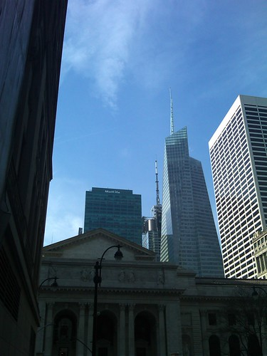 Day view of NY Public Library with BofA and Grace buildings in background   by nocureforgravity