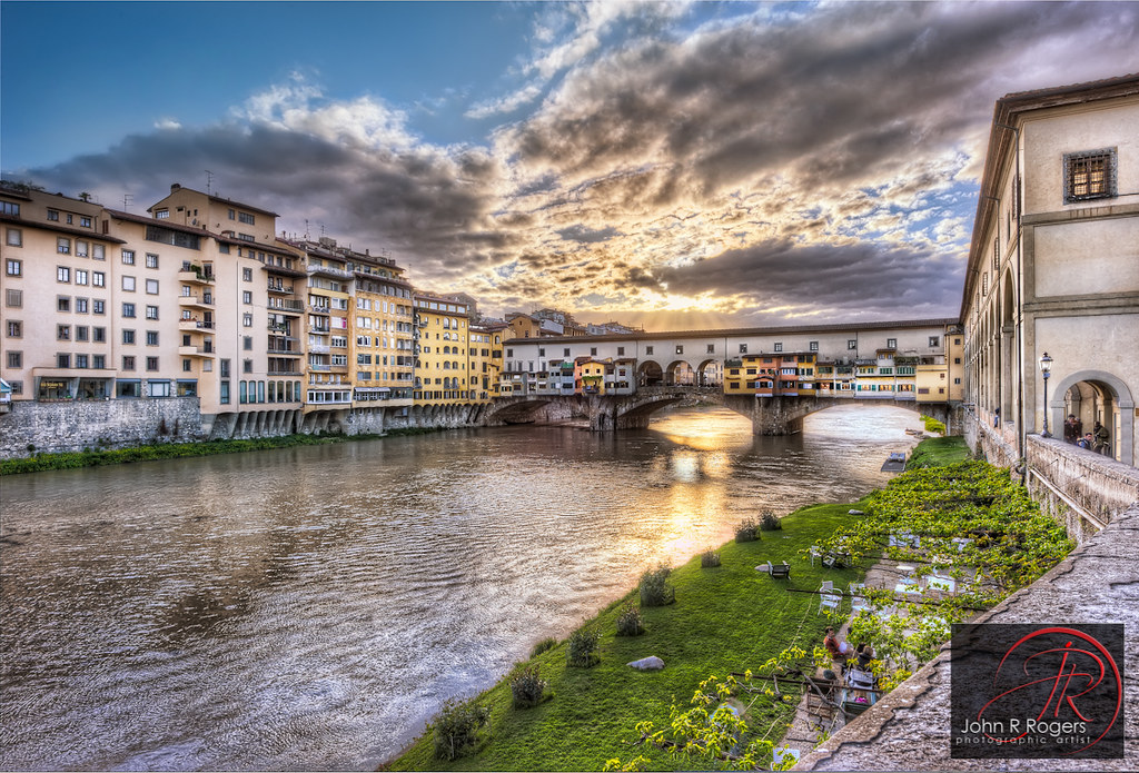 Sunset over the Arno & Ponte Vecchio; Florence Italy