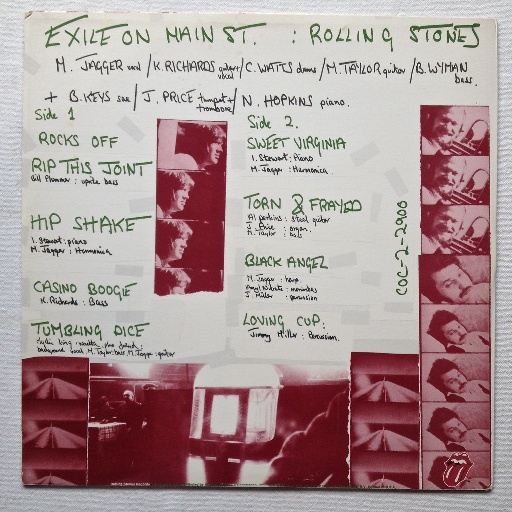 1972 ROLLING STONES Exile On Main Street LP record album v