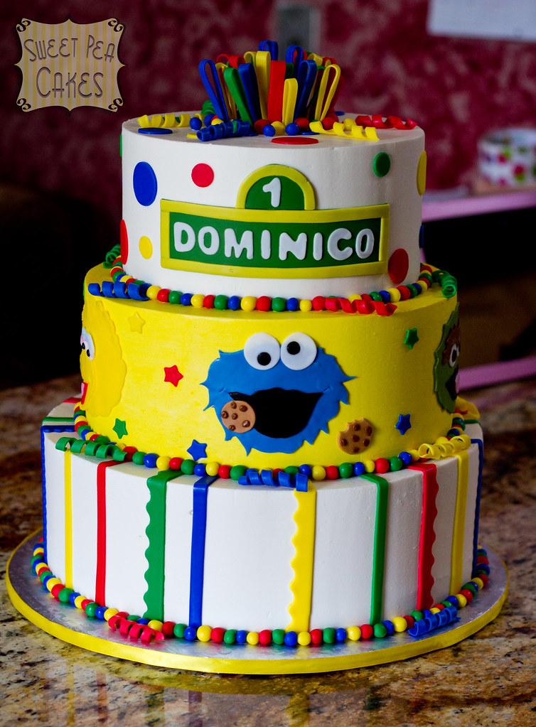 Pleasant Sesame Street 1St Birthday Three Tier Buttercream Cake Wit Flickr Funny Birthday Cards Online Alyptdamsfinfo