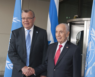 President of the State of Israel, Shimon Peres, visiting the UN Office in Vienna