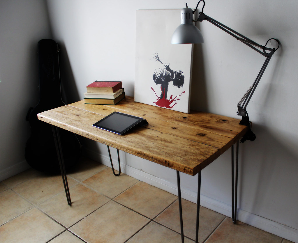 Natural Reclaimed Wood Desk On Raw Steel Hairpin Legs 6 7