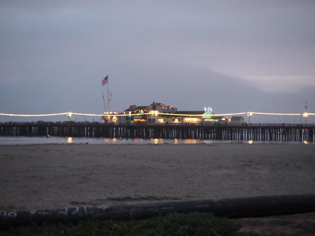 PC114069 Santa Barbara wharf cloudy sky Parade of Lights evening Harbor Restaurant