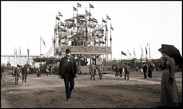 Nürnberg, Volksfest 1909 das Riesenrad, Fotografie Großberger