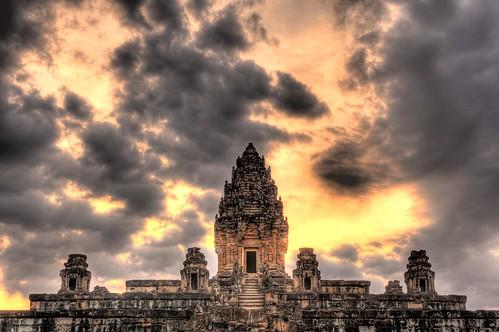 sunset sky sun wall clouds asian nikon ruins rocks asia cambodia dramatic angkorwat southeast siemreap setting hdr highdynamicrange kampuchea lolei photomatixpro roluosgroup bakongtemple d700 2470mmf28g nathanhortonphotographytour