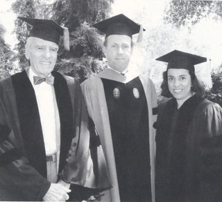 1992 honorary degree recipients at Commencement: Professor Emeritus of Chemistry Corwin Hansch and Antonia Hernandez, then president and general counsel of the Los Angeles-based Mexican American Legal Defense and Education Fund