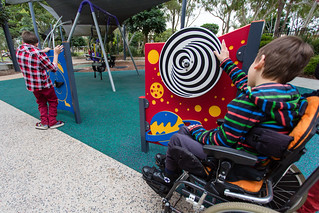 Sensory panels. Rubber softfall under play equipment. | by Brisbane City Council