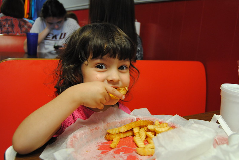 Krystal enjoyed the grilled cheese sandwich and French fries.