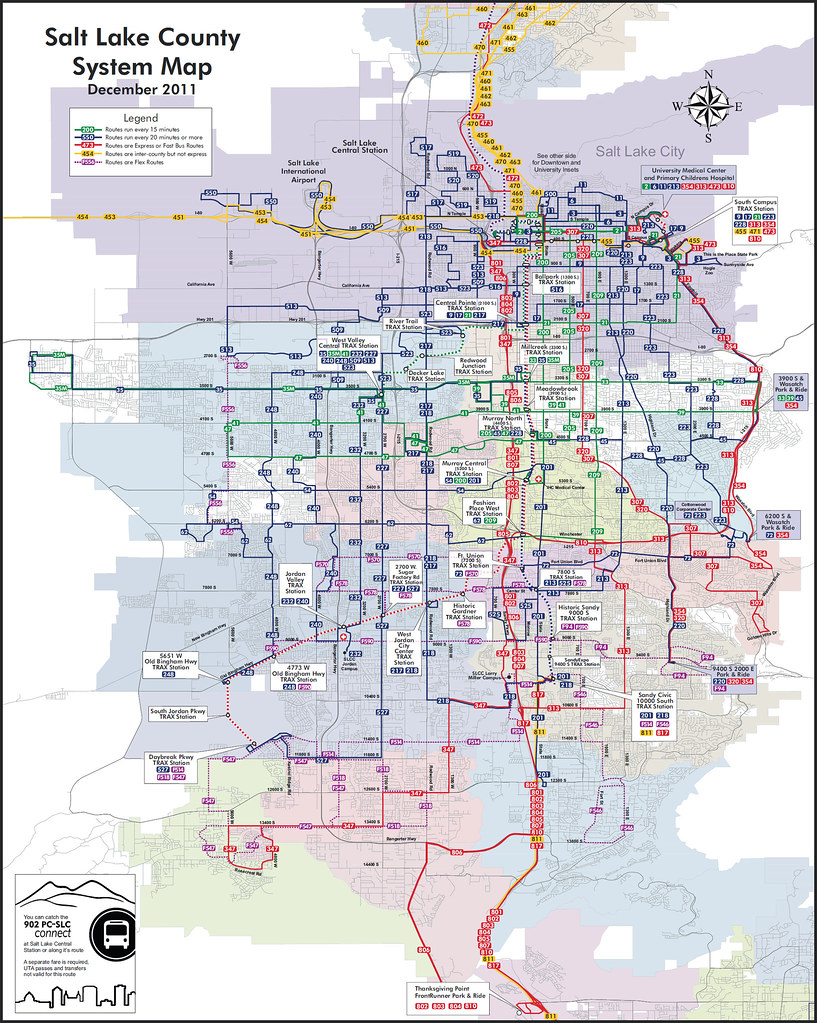 Salt Lake City bus map | Color coded to show bus frequency ... Salt Lake City Public Transportation Map on cincinnati public transportation map, santa clara public transportation map, boston public transportation map, florida public transportation map,