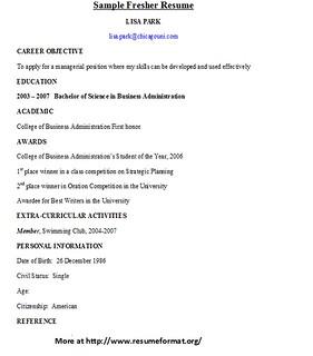 Sample Fresher Resume Format For Various Fresher Resume Fo Flickr