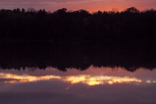 autumn sunset water reflections vermont deadcreek