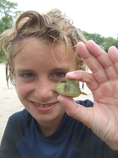 Jack with a tiny trunkfish! | by AdventureMIke.com