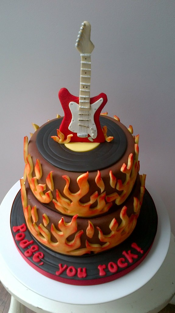 Sensational Electric Guitar Cake Birthday Cake For My Brother In Laws Flickr Personalised Birthday Cards Akebfashionlily Jamesorg