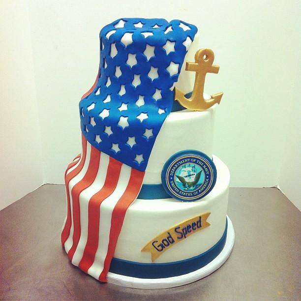 Peachy Navy Birthday Cake Austin Customcake Polkadots Olga Flickr Funny Birthday Cards Online Fluifree Goldxyz