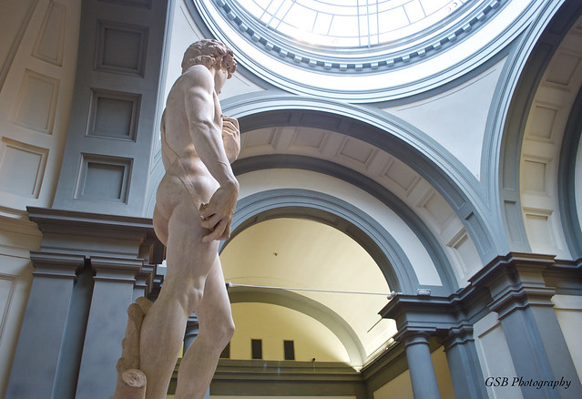 Michelangelo's David in his hall