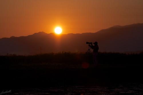 morning japan dawn nikon niigata cameraman 2012 d90 朝日 fukushimagata 福島潟 かっこいいカメラマンの方
