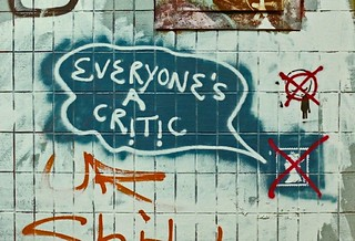 Everyone's a critic - graifitti under Mancunian Way in Manchester