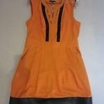 329027 (-1380)BURB 棉裙摆拼PU无袖裙 2 4 6 8 绿色-杏色-橙黄色-橙红色 胸88 长80 腰70 (2)