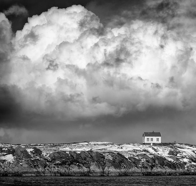 April Sky in black and white