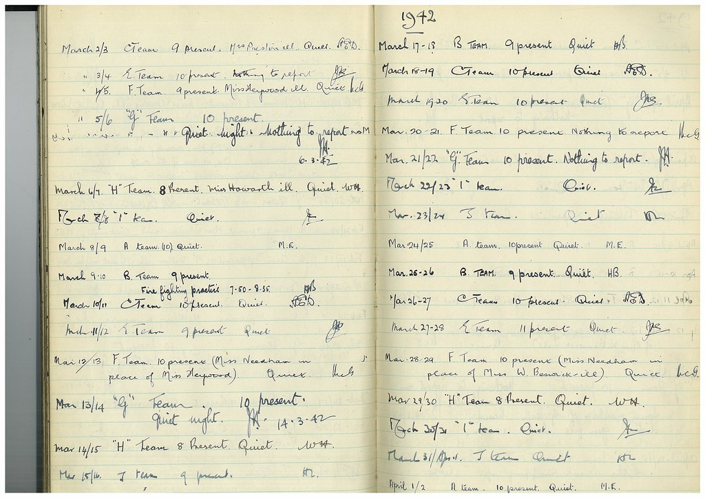 Manchester Central Library Fire Watch Log Book, Mar 1942