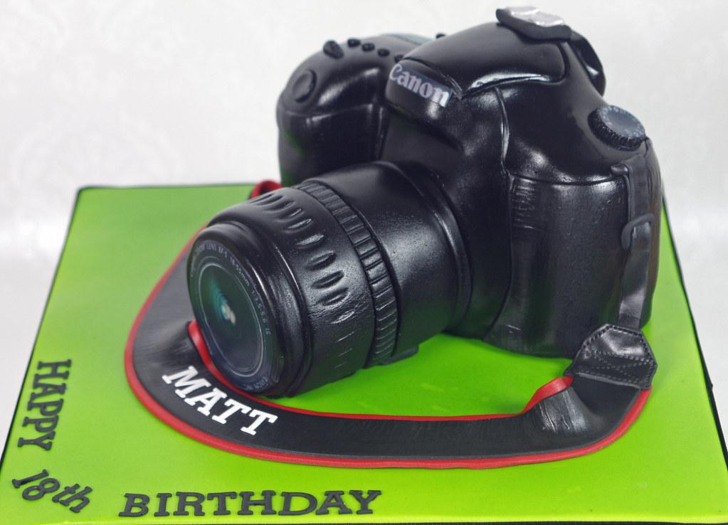 Surprising Canon Camera Cake My Eldest Son Matts 18Th Birthday Cake Flickr Personalised Birthday Cards Veneteletsinfo
