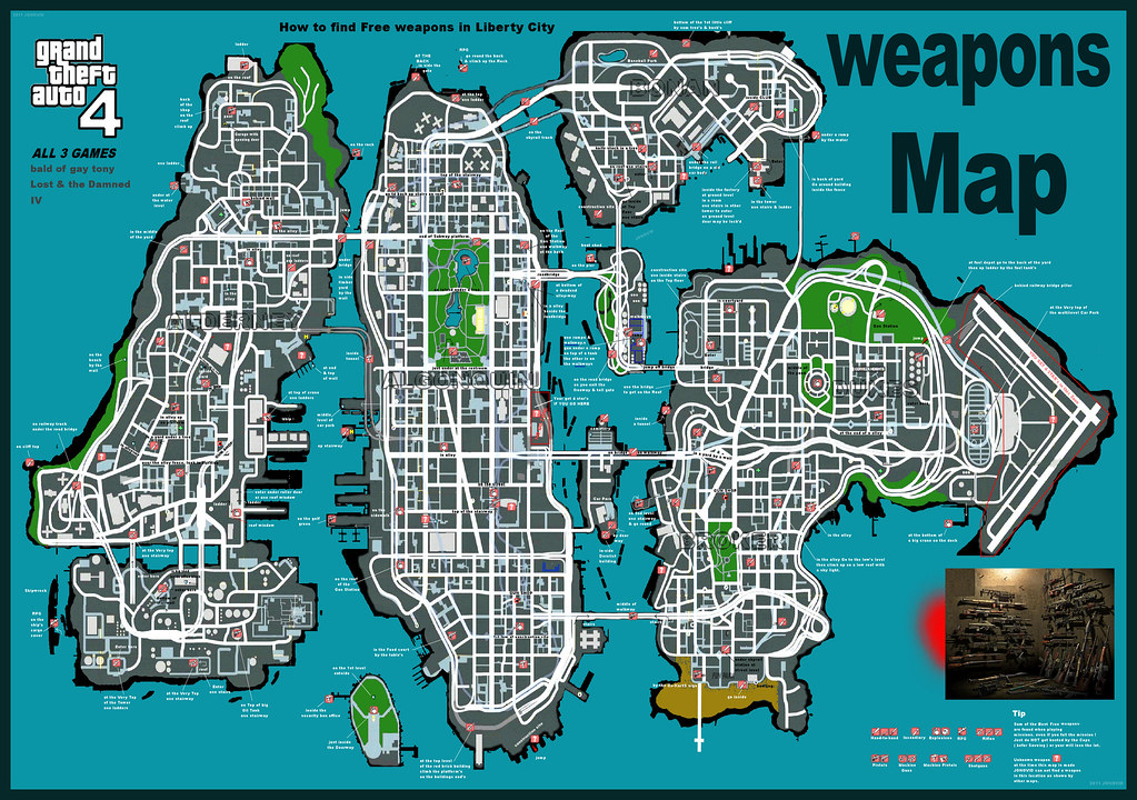 big GTA-IV & EFLC GUNS map | Grand Theft Auto IV Weapons Map