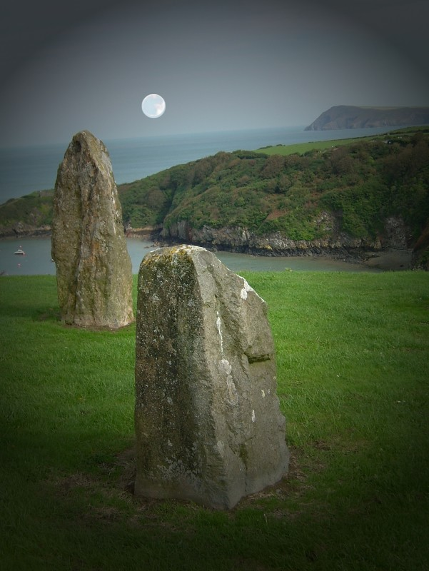 welsh standing stones by night