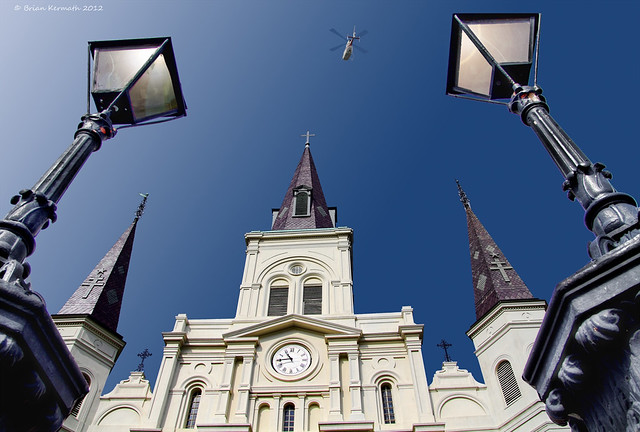 Cathedral-Basilica of St. Louis, King of France, or the St. Louis Cathedral at Jackson Square, also known as Place d'Armes, or Plaza de Armas