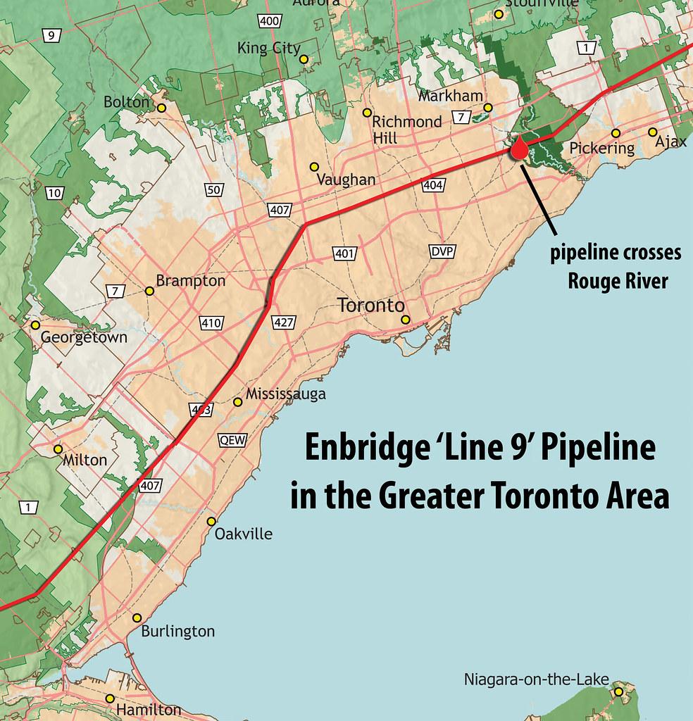 GTA line 9 small | Map of Enbridge Line 9 oil pipeline in GT