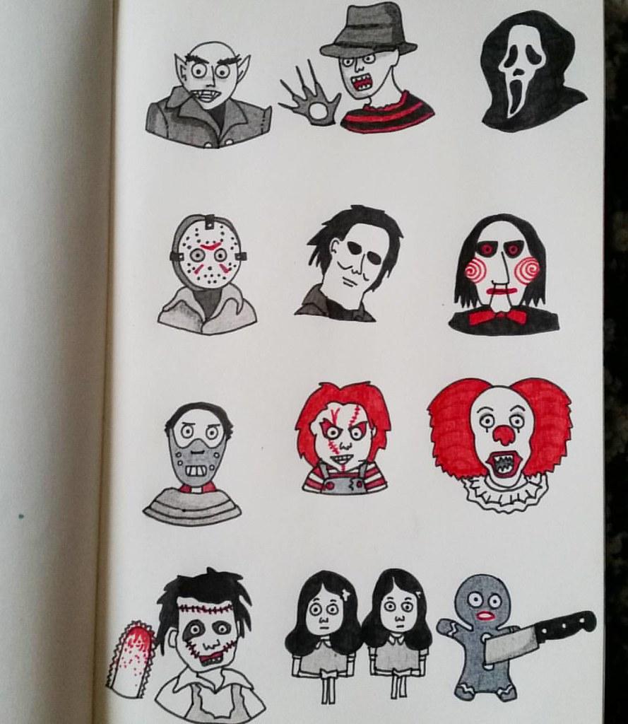 I love horror movies sketch drawing draw dessin art