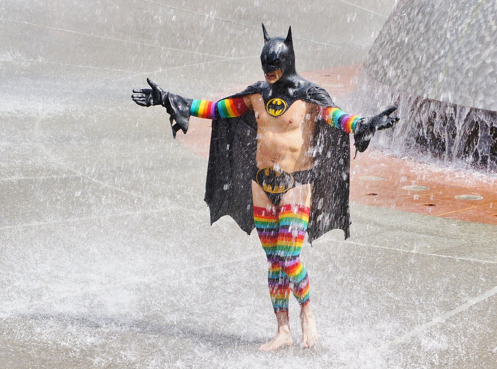 Rainbow Batman in the Fountain | In the fountain at ...