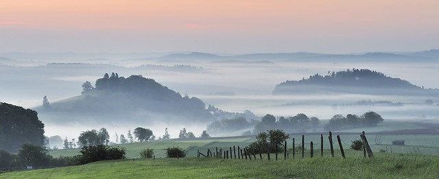 *early morning in the volcanic Eifel - panoramic view*