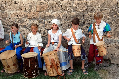 Children playing drums at Burgfest Castle festival | by @PensieveRobin