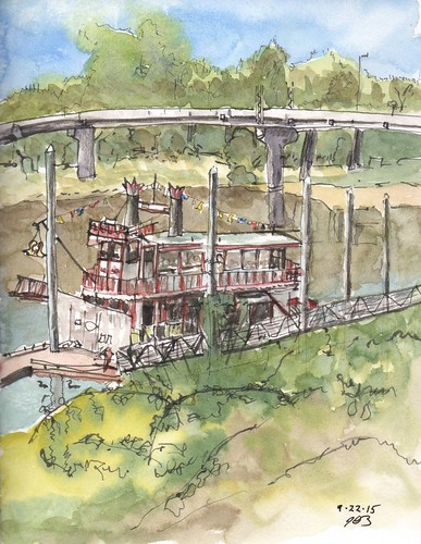 trees urban pen ink river watercolor landscape boat sketch riverboat sternwheeler penandink pleinair