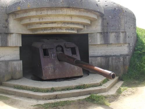 Casemate et canon de 150 mm : batterie allemande - Longues-sur-Mer (14)