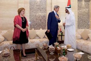 Secretary Kerry and Ambassador Leaf Stand With U.A.E. Crown Prince Mohammed bid Zayed in the Mina Palace